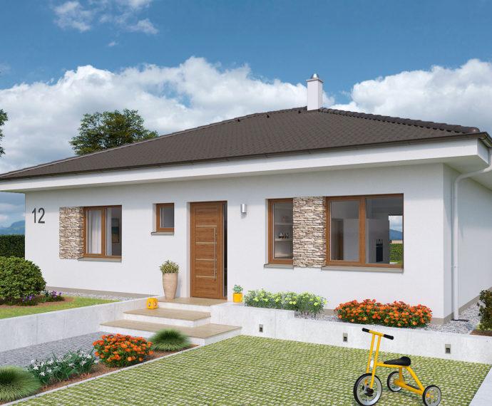 Проект одноэтажного дома с террасой P100 - фото №1