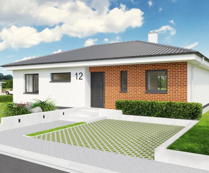Проект одноэтажного дома с террасой P102 - фото №1