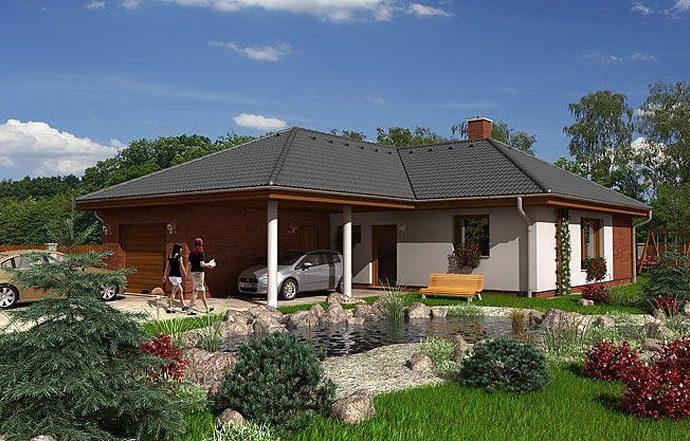 Проект одноэтажного дома с террасой, гаражом и навесом P16 - фото №1