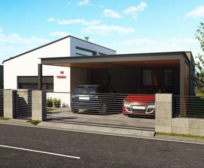Проект одноэтажного дома с террасой и навесом P20 - фото №1