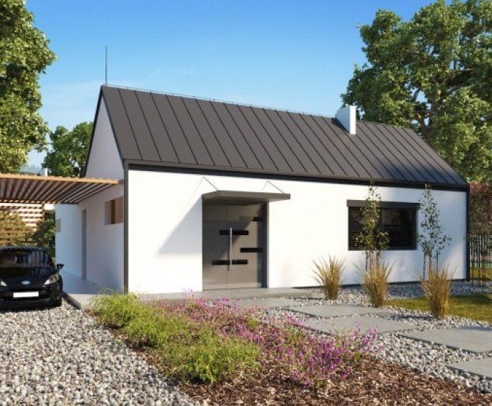 Проект одноэтажного дома с террасой P22 - фото №1