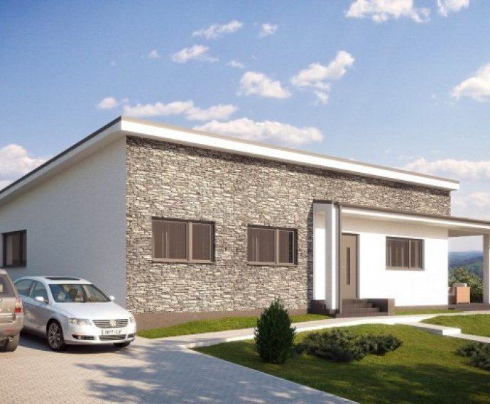Проект одноэтажного дома с террасой P24 - фото №1