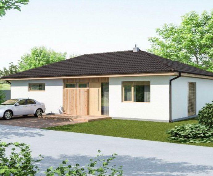 Проект одноэтажного дома с террасой P27 - фото №1