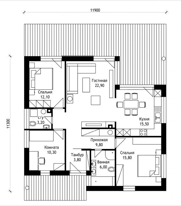 План этажа одноэтажного дома с террасой P31