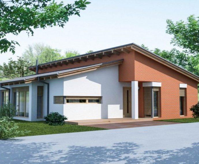 Проект одноэтажного дома с террасой P33 - фото №1