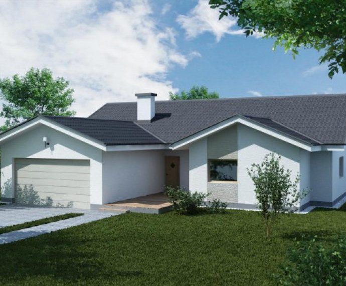Проект одноэтажного дома с гаражом P34 - фото №1