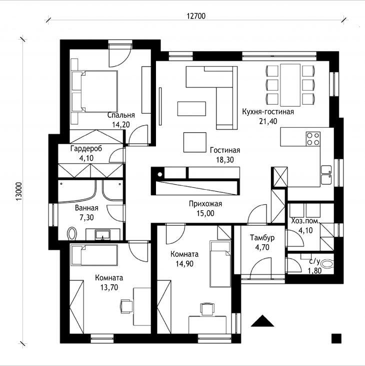 План 1 этажа одноэтажного дома P39