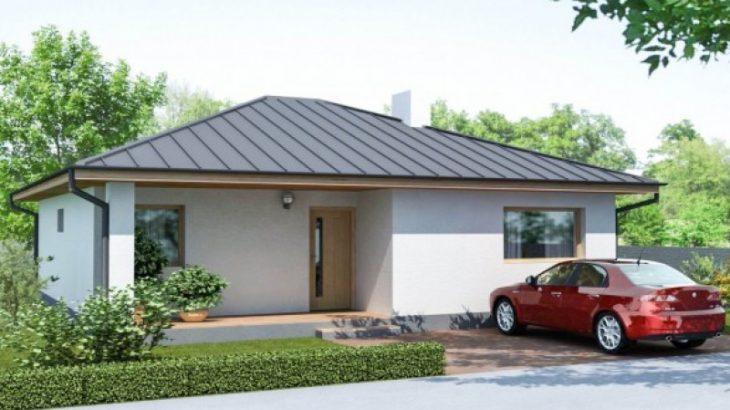 Проект одноэтажного дома с террасой P42 - фото №1