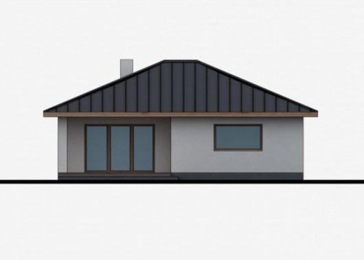 Фасад одноэтажного дома с террасой P42 - вид сзади