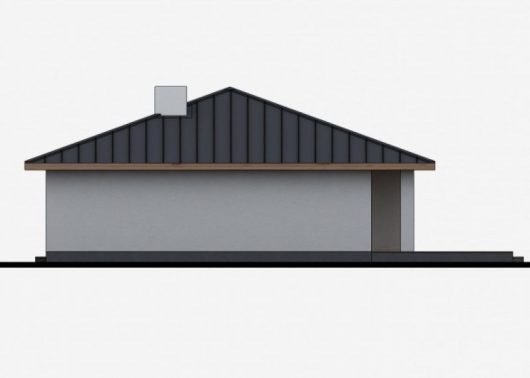Фасад одноэтажного дома с террасой P42 - вид справа