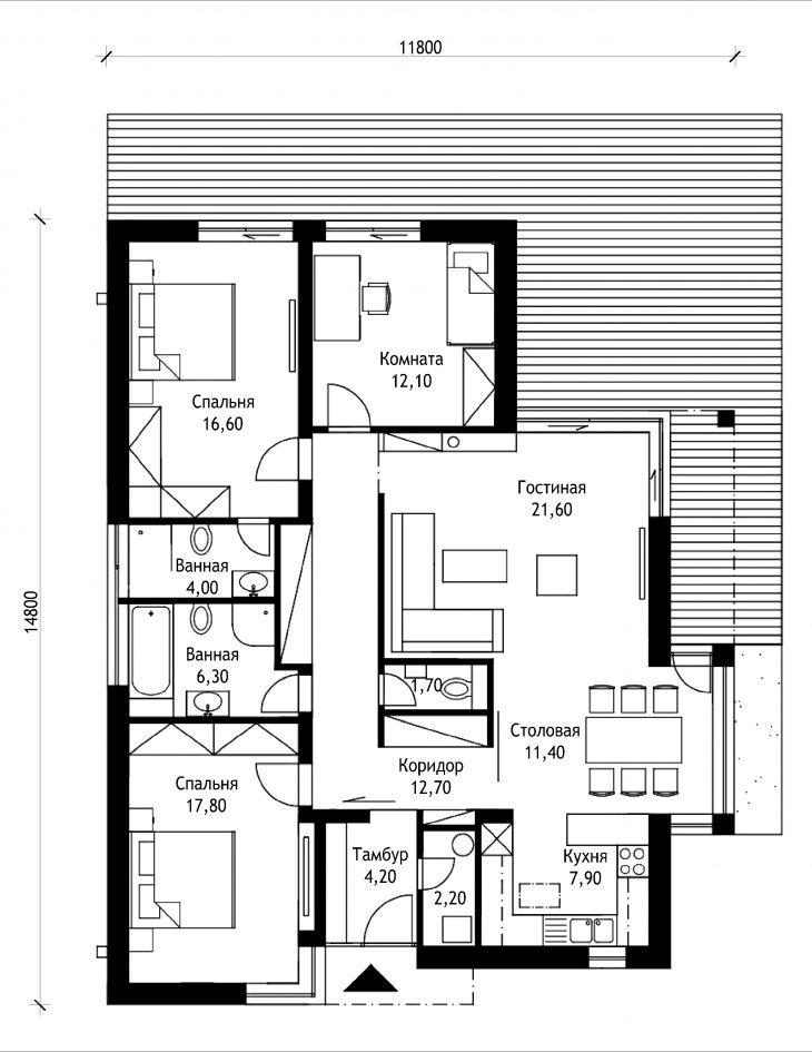 План этажа одноэтажного дома с террасой P43