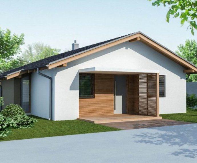 Проект одноэтажного дома с террасой P46 - фото №1