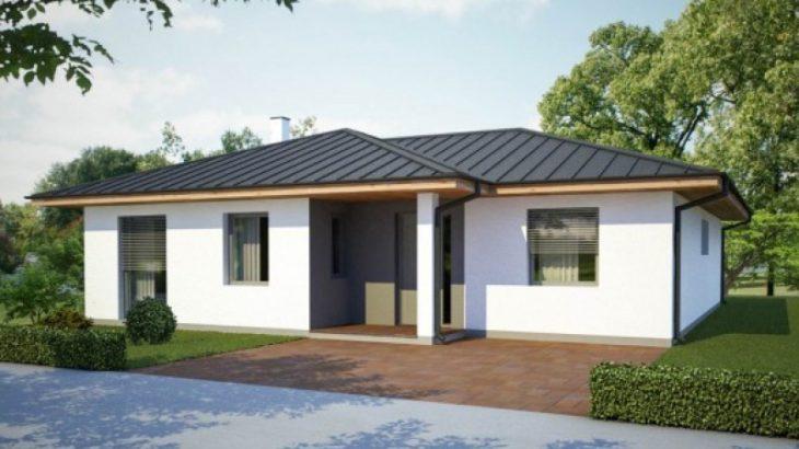 Проект одноэтажного дома с террасой P49 - фото №1