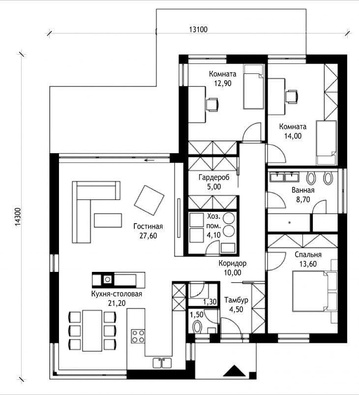 План этажа одноэтажного дома с террасой P49