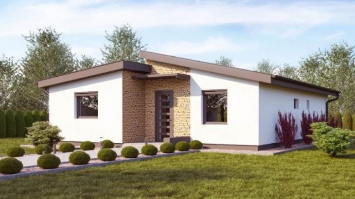 Проект одноэтажного дома с террасой P58 - фото №1
