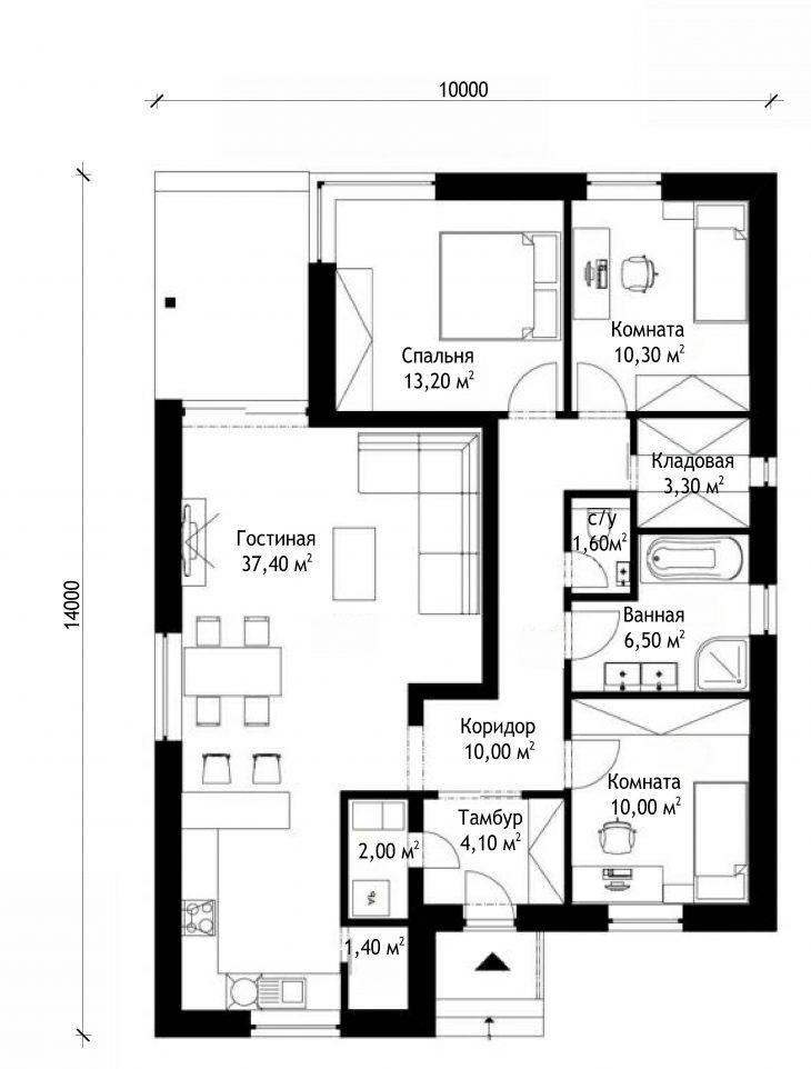 План этажа одноэтажного дома с террасой P58