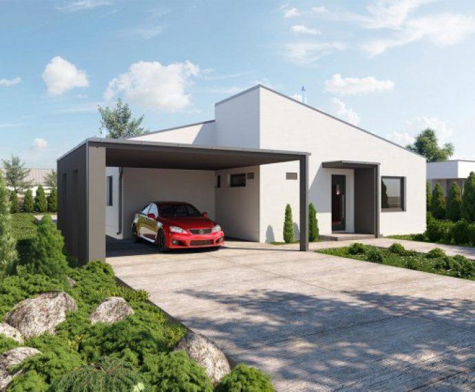Проект одноэтажного дома с террасой и навесом P65 - фото №1