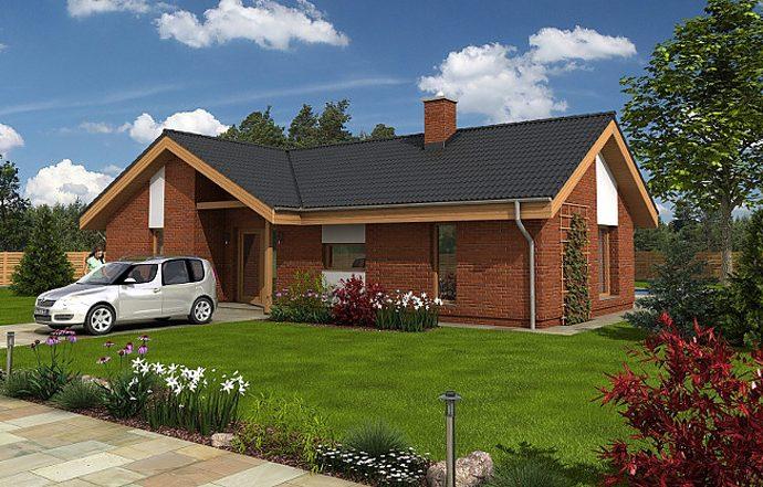 Проект одноэтажного дома с террасой P10 - фото №1