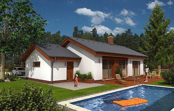 Проект одноэтажного дома с террасой и гаражом P12 - фото №1