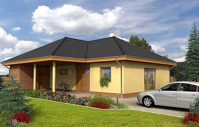Проект одноэтажного дома с террасой и навесом P13 - фото №2