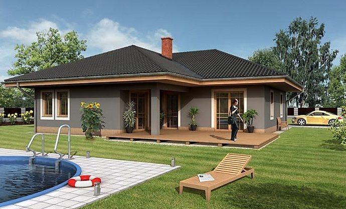 Проект одноэтажного дома с террасой и гаражом P02 - фото №1