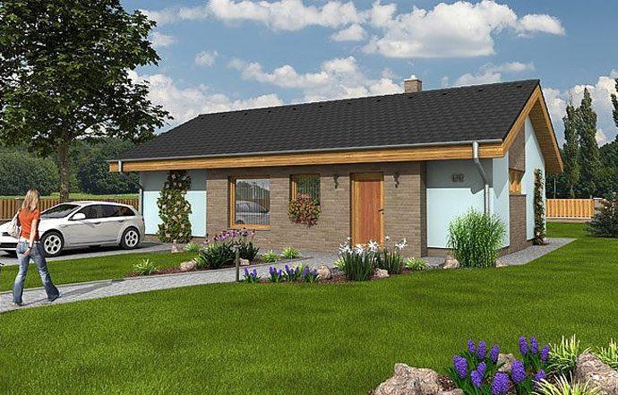Проект одноэтажного дома с террасой P04 - фото №1