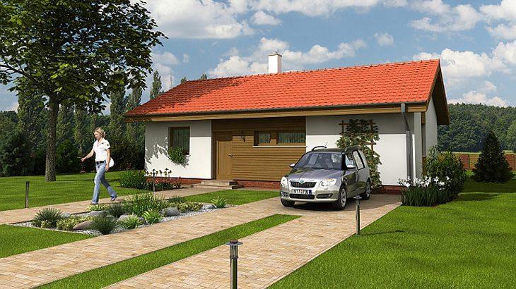 Проект одноэтажного дома с террасой P05 - фото №1