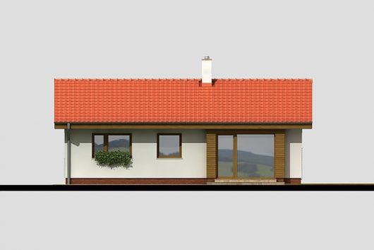 Фасад одноэтажного дома с террасой P05 - вид сзади