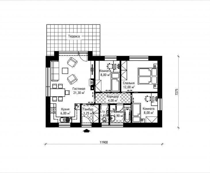 План этажа одноэтажного дома с террасой P05