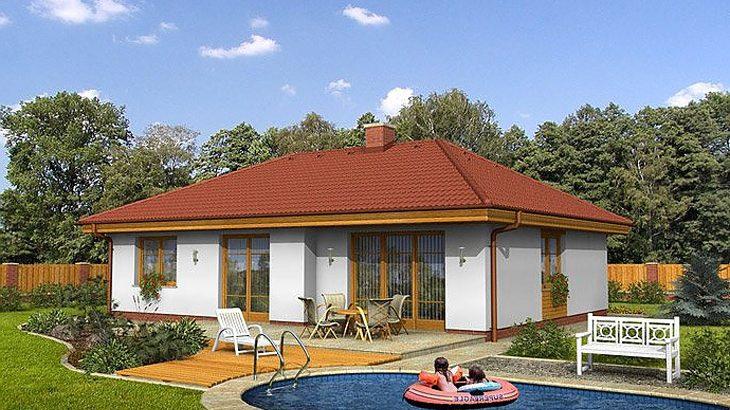 Проект одноэтажного дома с террасой и гаражом P06 - фото №2