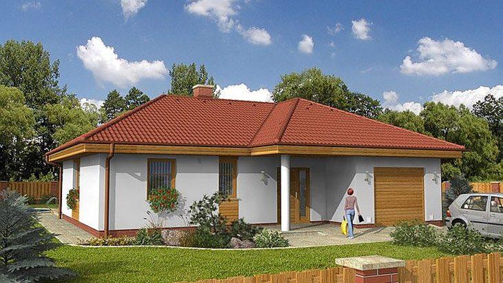Проект одноэтажного дома с террасой и гаражом P06 - фото №1