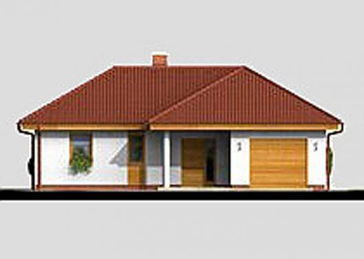 Фасад одноэтажного дома с террасой и гаражом P06 - вид спереди
