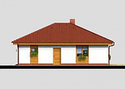Фасад одноэтажного дома с террасой и гаражом P06 - вид слева