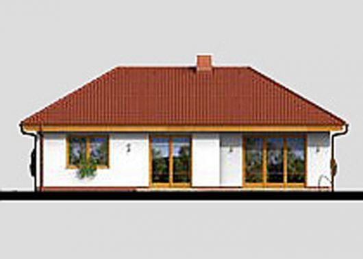 Фасад одноэтажного дома с террасой и гаражом P06 - вид сзади