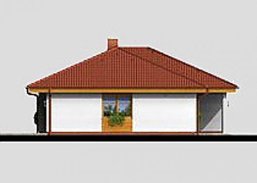 Фасад одноэтажного дома с террасой и гаражом P06 - вид справа