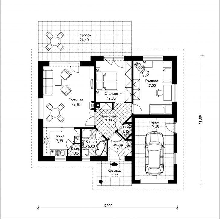 План этажа одноэтажного дома с террасой и гаражом P06
