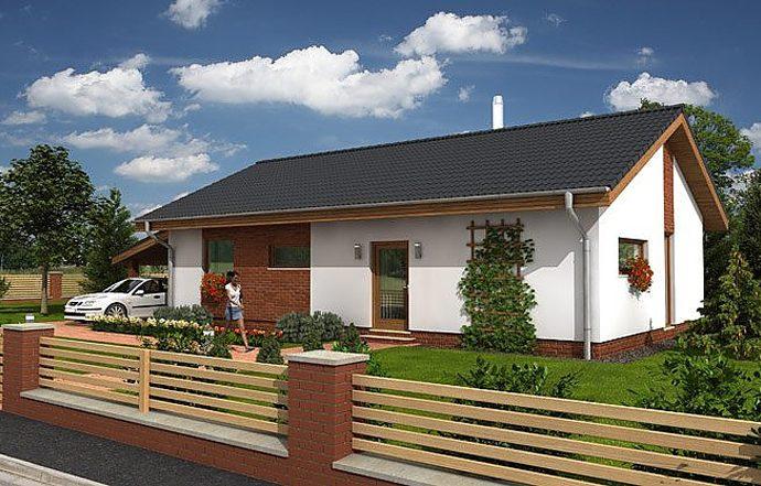 Проект одноэтажного дома с террасой и навесом P08 - фото №1