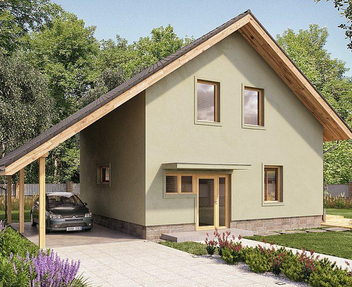 Проект мансардного дома с террасой и гаражом S03 - фото №1