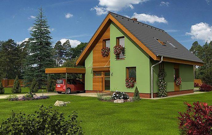 Проект мансардного дома с террасой и навесом S06 - фото №1