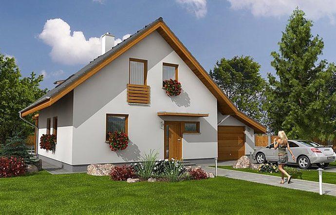 Проект мансардного дома с террасой и гаражом S07 - фото №1