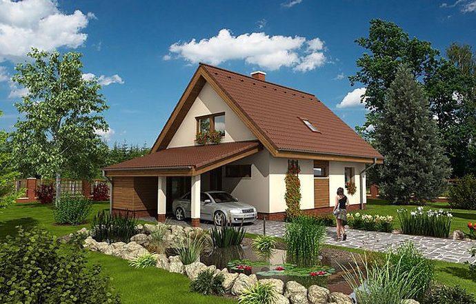 Проект мансардного дома с террасой и навесом S09 - фото №1