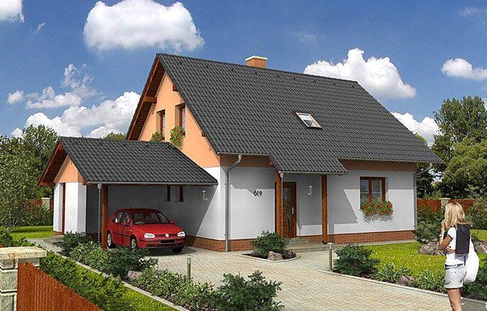 Проект мансардного дома с террасой и навесом S12 - фото №1