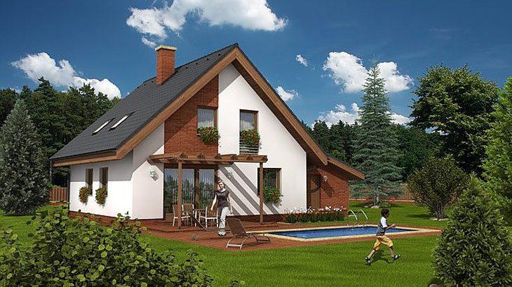 Проект мансардного дома с террасой и гаражом S17 - фото №2