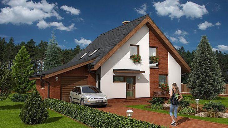 Проект мансардного дома с террасой и гаражом S17 - фото №1