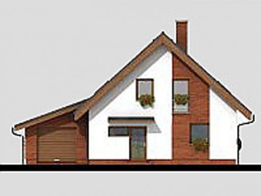 Фасад мансардного дома с террасой и гаражом S17 - вид спереди