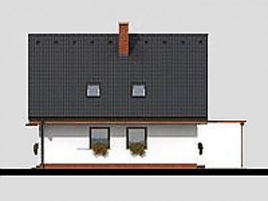 Фасад мансардного дома с террасой и гаражом S17 - вид слева