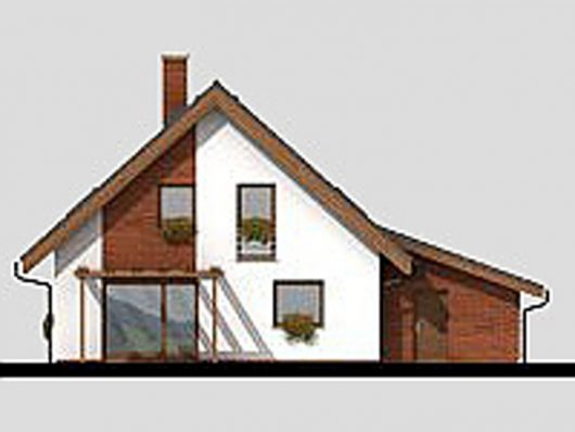 Фасад мансардного дома с террасой и гаражом S17 - вид сзади