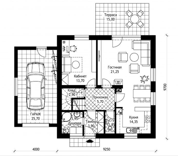 План 1 этажа мансардного дома с террасой и гаражом S17