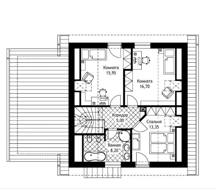 План 2 этажа мансардного дома с террасой и гаражом S17