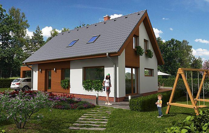 Проект мансардного дома с террасой и гаражом S19 - фото №1